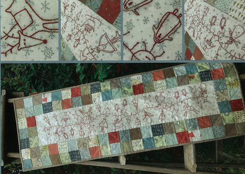 Hatched and Patched Christmas Garland Table Runner