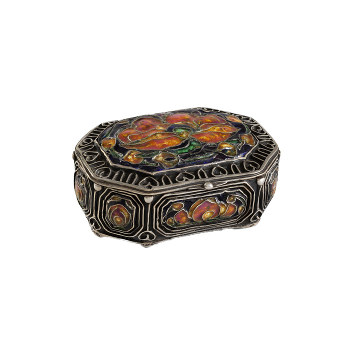 Elizabeth Copeland's Enameled Silver Box with Poppies and Silver Metalwork, Available at Macklowe Gallery
