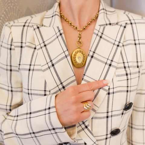Macklowe Gallery's Antique Diamond and Seed Pearl Gold Locket Necklace
