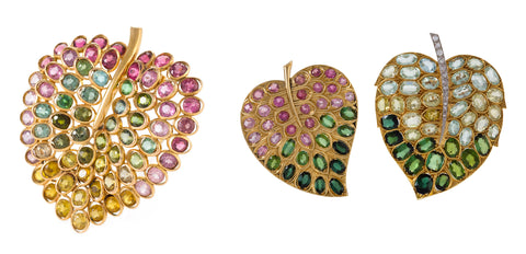 """Macklowe Gallery's House of Boivin """"Lilac-Leaf"""" Brooches, Available for Purchase"""