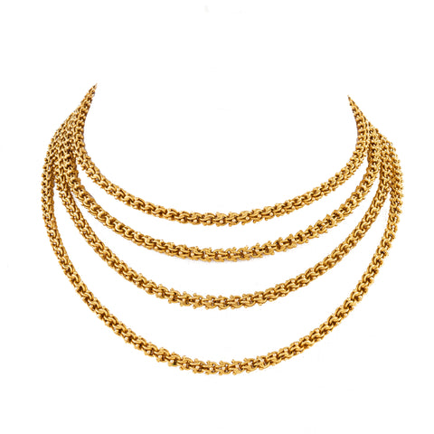 Macklowe Gallery's Antique Gold Fancy Link Long Chain Necklace