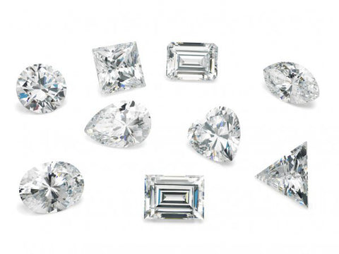 Diamonds in various cuts and carat weights
