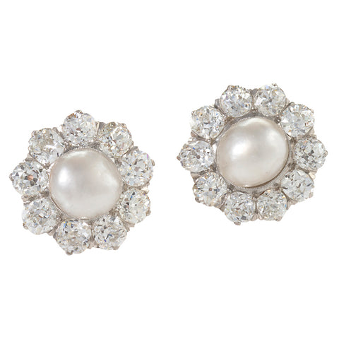 Macklowe Gallery's Antique Natural Saltwater Pearl and Diamond Cluster Earrings