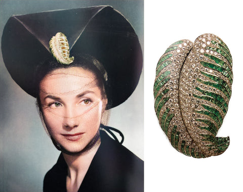 Juliette Moutard's House of Boivin Diamond and Emerald Leaf Brooch (1938)