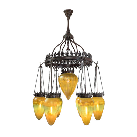 """Tiffany Studios New York """"Stalactite"""" Favrile Chandelier, available at Macklowe Gallery"""