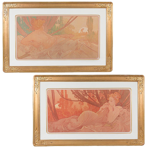 """Macklowe Gallery's Antique Alphonse Mucha Pair of """"Dawn and Dusk"""" Lithographs"""