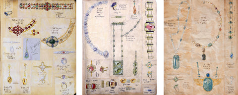 Meta Overbeck's Design Sketchbook (while she worked for Louis Comfort Tiffany)
