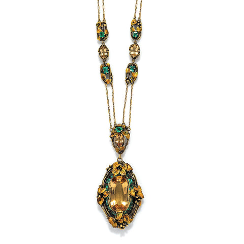 Louis Comfort Tiffany for Tiffany & Co. Golden Topaz and Emerald Necklace, Designed By Julia Munson