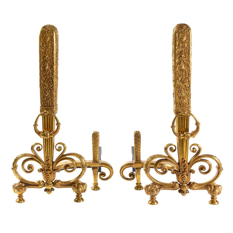 Tiffany Studios New York Pair of Gilt Bronze Andirons, available at Macklowe Gallery