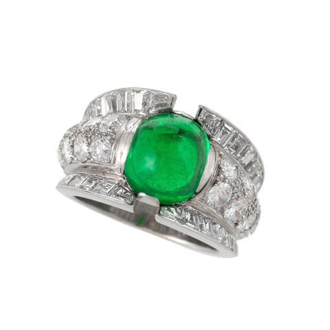 Macklowe Gallery's Cabochon Colombian Emerald and Diamond Ring