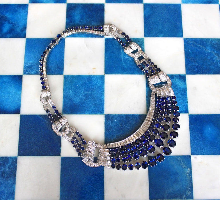 Sapphire and Diamond Draped Necklace