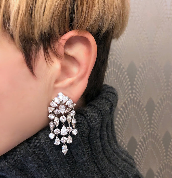 "David Webb Diamond ""Waterfall"" Earrings"