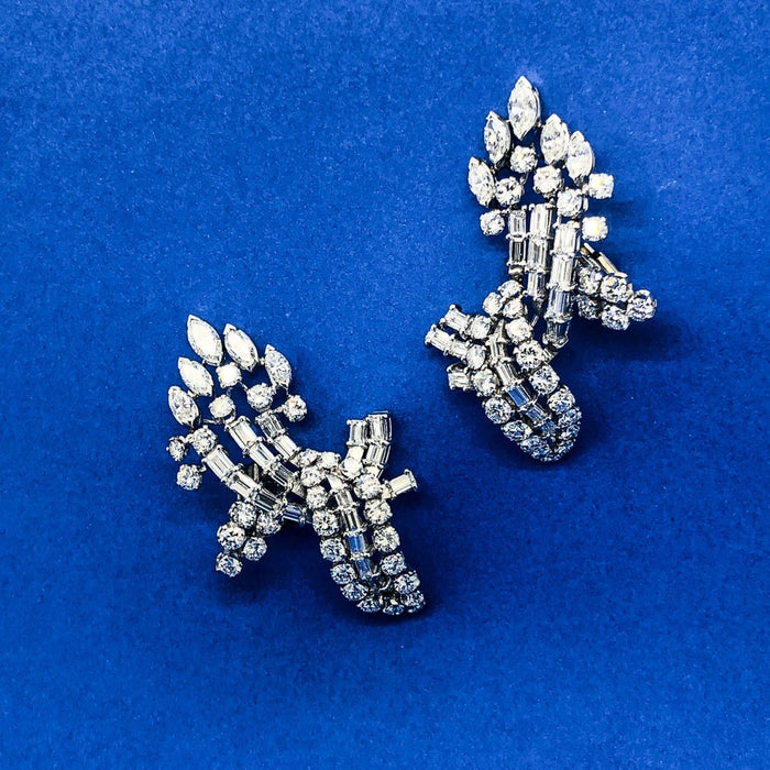 Diamond Cluster and Platinum Earrings