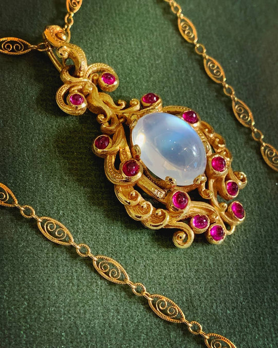Moonstone and Ruby Gold Pendant Necklace