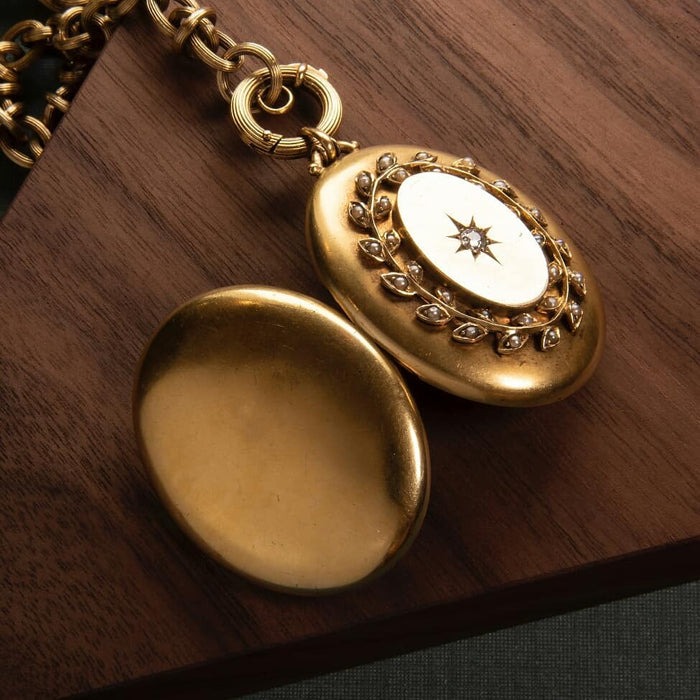 Diamond and Seed Pearl Gold Locket Necklace