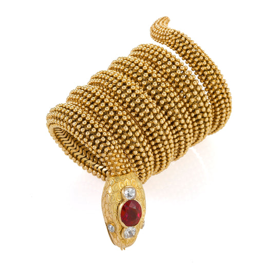 "Macklowe Gallery Bulgari Ceylon Ruby ""Serpenti"" Bracelet Watch"