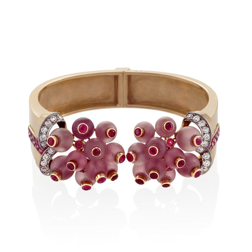 Macklowe Gallery Georges Verger Retro Rose Quartz and Ruby Bracelet Cuff