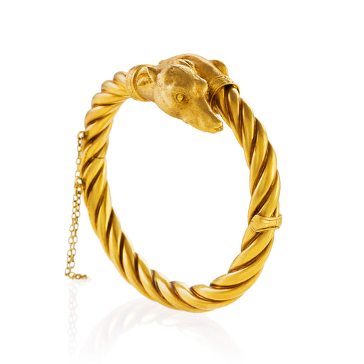 Macklowe Gallery Gold Whippet Hound Bangle Bracelet