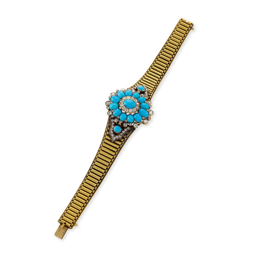 Macklowe Gallery Turquoise and Diamond Convertible Gold Link Bracelet