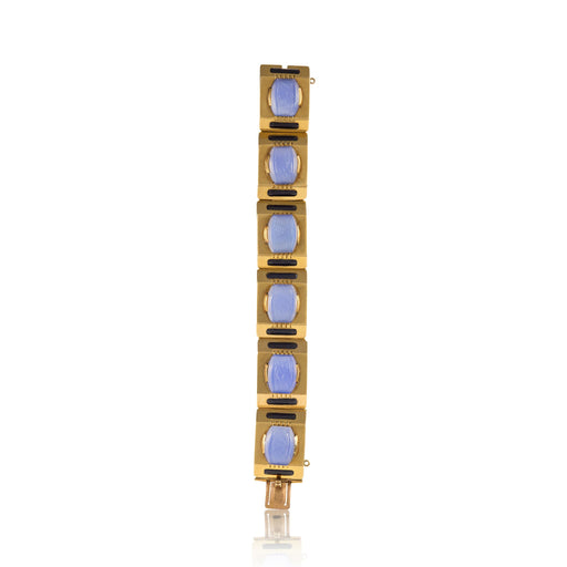 Macklowe Gallery Sasportas Blue Chalcedony and Gold Plaque Bracelet