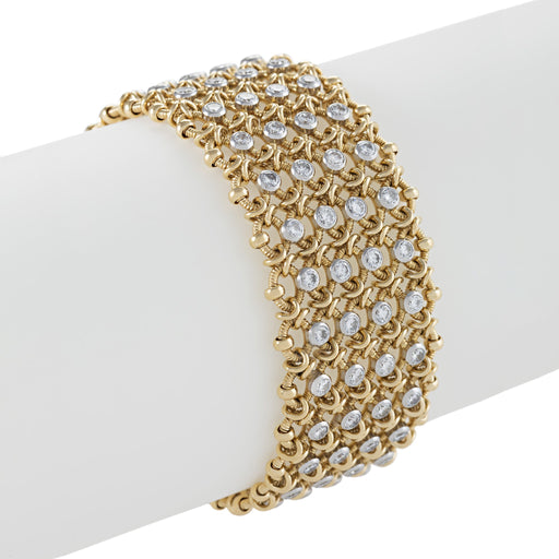 Macklowe Gallery Cartier Gold and Diamond Woven Mesh Link Bracelet