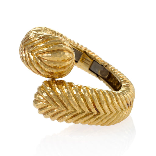 Macklowe Gallery David Webb Hammered Gold Crossover Cuff