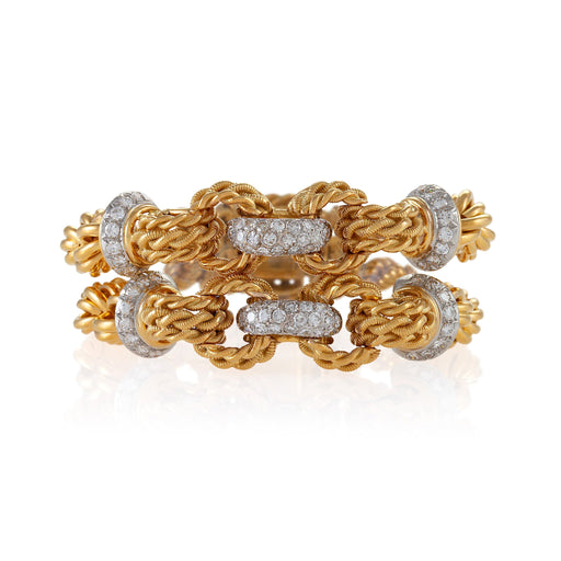 Macklowe Gallery Double Gold and Diamond Rope Bracelet