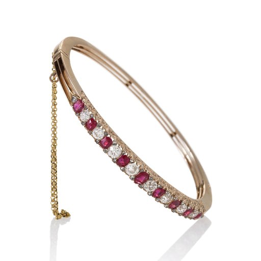 Macklowe Gallery Ruby and Diamond Thin Bangle Bracelet