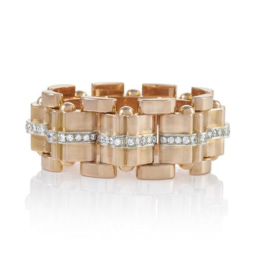 Macklowe Gallery Rose Gold and Diamond Tank Bracelet