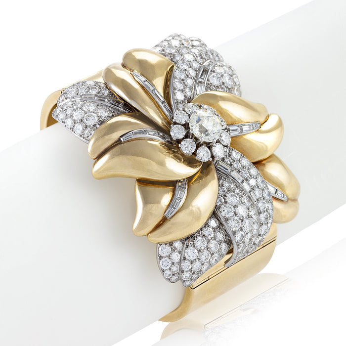 Macklowe Gallery Cartier Gold and Diamond Flower Bracelet