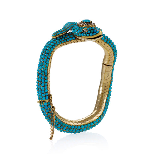 Macklowe Gallery Turquoise and Diamond Serpent Bangle