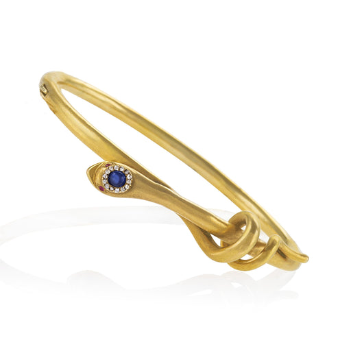 Macklowe Gallery Sapphire-Headed Gold Serpent Bracelet