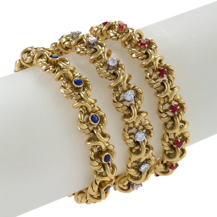 Macklowe Gallery Van Cleef & Arpels Set of Three Ruby, Sapphire, and Diamond Bracelets