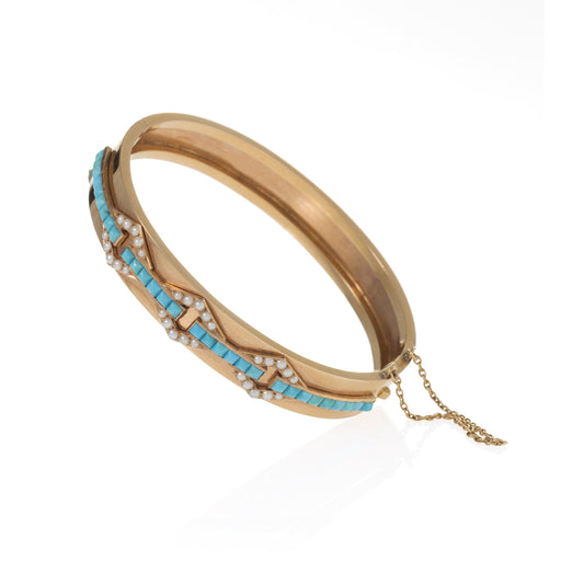 Macklowe Gallery Alfred Robin Turquoise and Seed Pearl Bangle