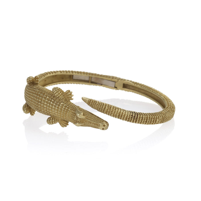Macklowe Gallery Barry Kieselstein-Cord Gold Alligator Bypass Bangle