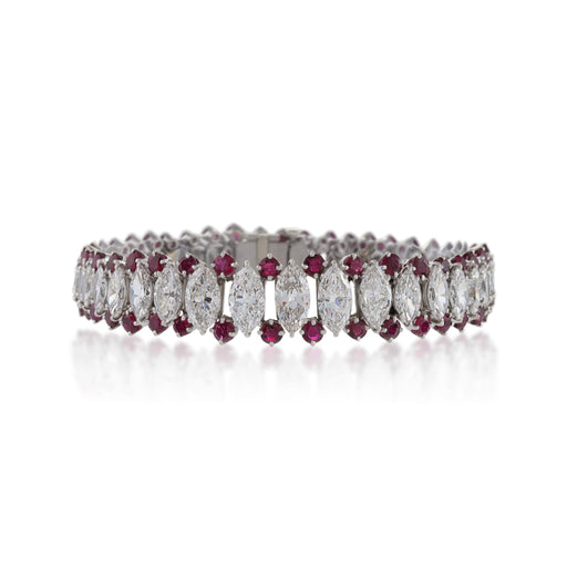 Macklowe Gallery Marquise Diamond and Ruby Bracelet