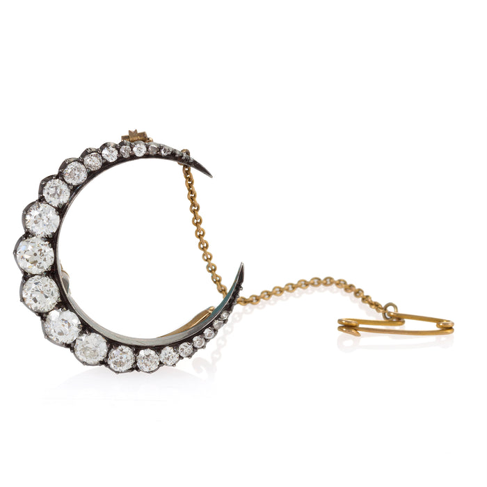 Silver-Topped Gold and Diamond Crescent Moon Brooch