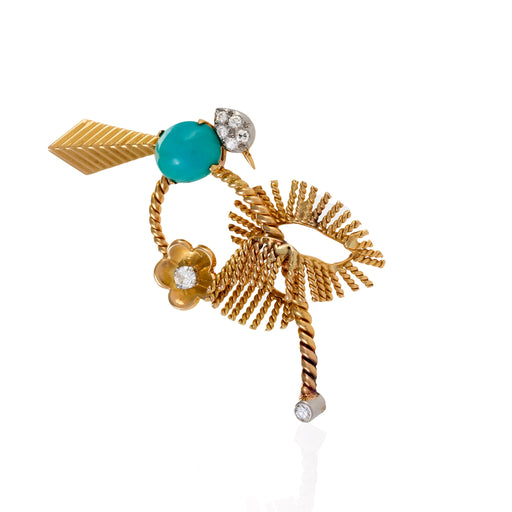 Macklowe Gallery Mauboussin Turquoise and Diamond Exotic Bird Brooch