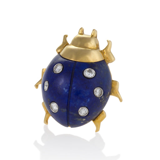 Macklowe Gallery Cartier Pair of Lapis Lazuli Ladybug Brooches