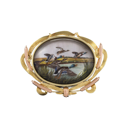 Macklowe Gallery Reverse Crystal Intaglio Bi-Color Gold Sporting Brooch