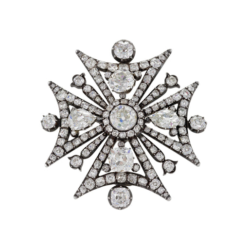 Macklowe Gallery Diamond Maltese Cross Brooch