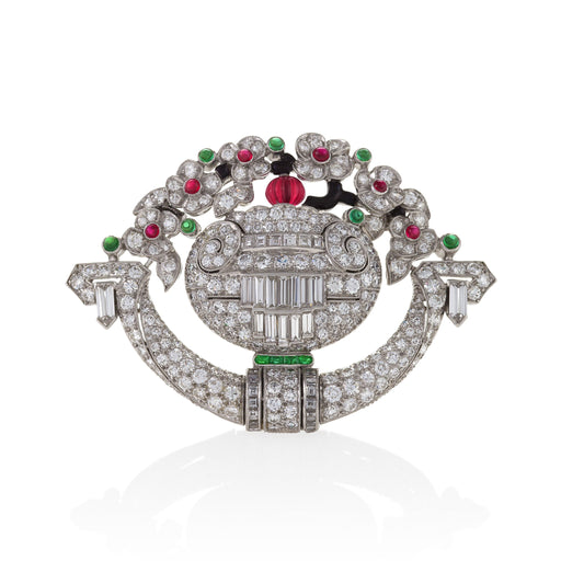Macklowe Gallery Tiffany & Co. Diamond and Colored Gem-Set Concealed Watch Brooch