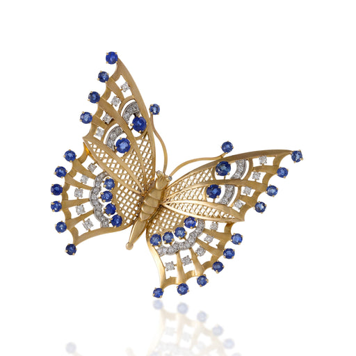 Macklowe Gallery Mauboussin Gold and Sapphire Butterfly Brooch