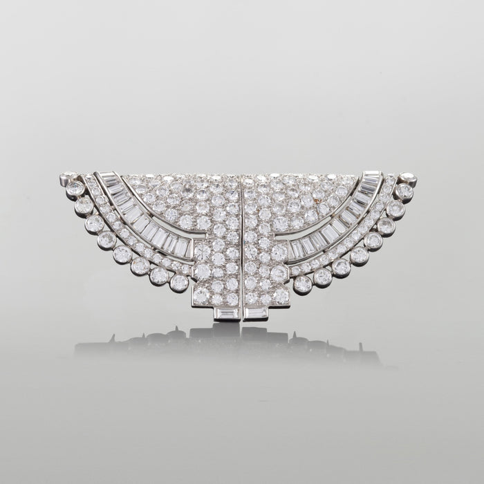 Macklowe Gallery Ostertag Paris Diamond Double-Clip Brooch