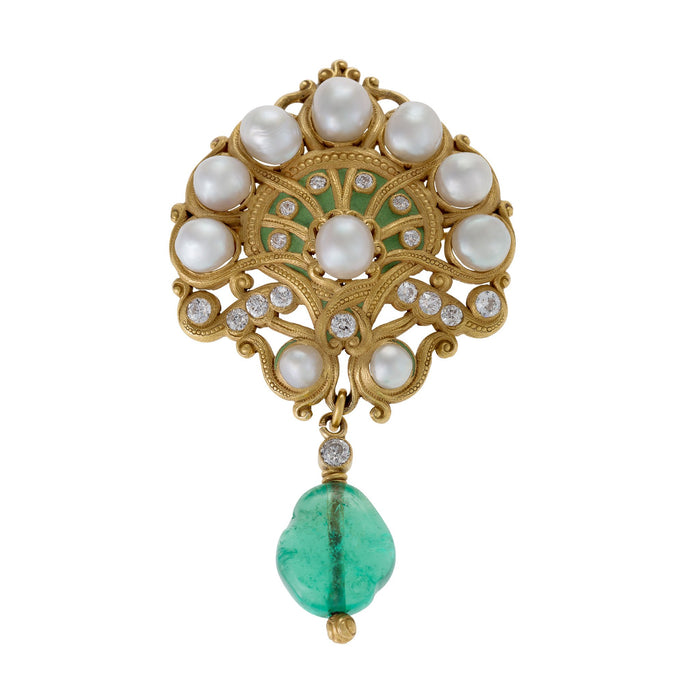 Macklowe Gallery Marcus & Co. Natural Saltwater Pearl and Emerald Brooch
