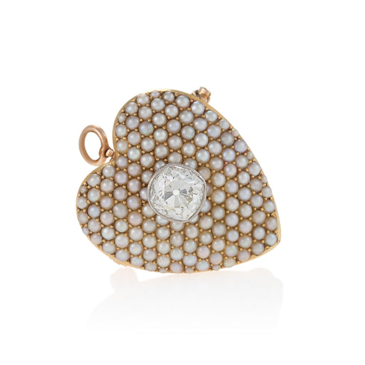 Macklowe Gallery Pavé Seed Pearl and Diamond Heart Brooch