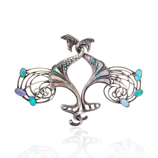 Macklowe Gallery Georges Fouquet Opal and Silver Cloak Clasp