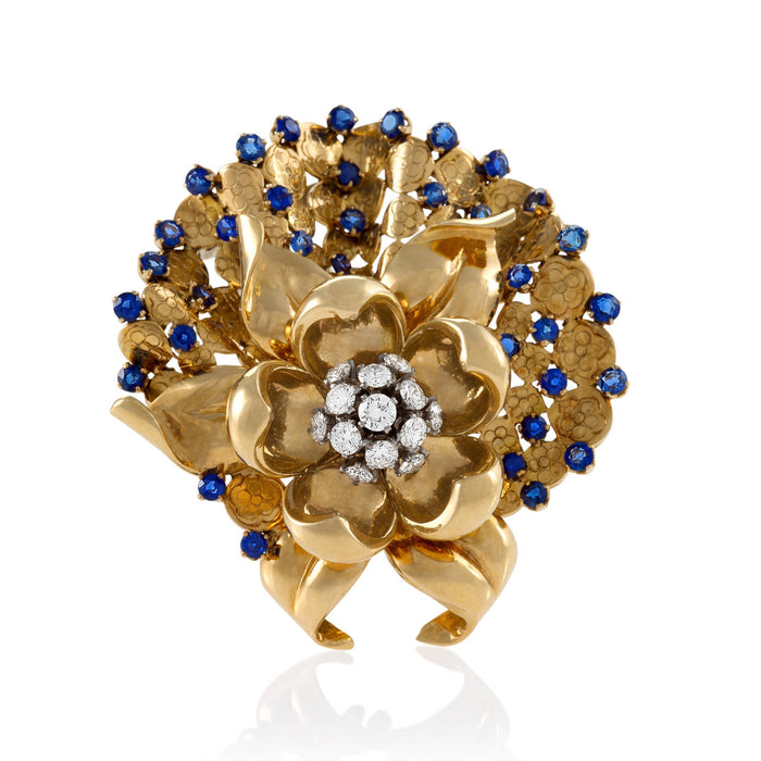 Macklowe Gallery Gübelin Sapphire and Diamond Flower Brooch