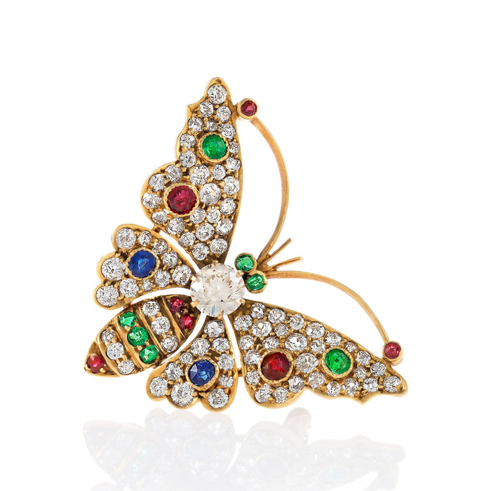 Macklowe Gallery Diamond Multicolor Butterfly Brooch