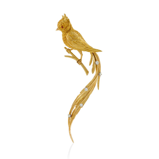 Macklowe Gallery Gold and Diamond Exotic Bird Brooch